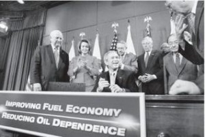President Bush signs the Energy Independence and Security Act which started the use of corn-based ethanol fuel