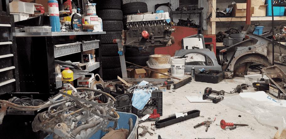 Messy mechanic garage
